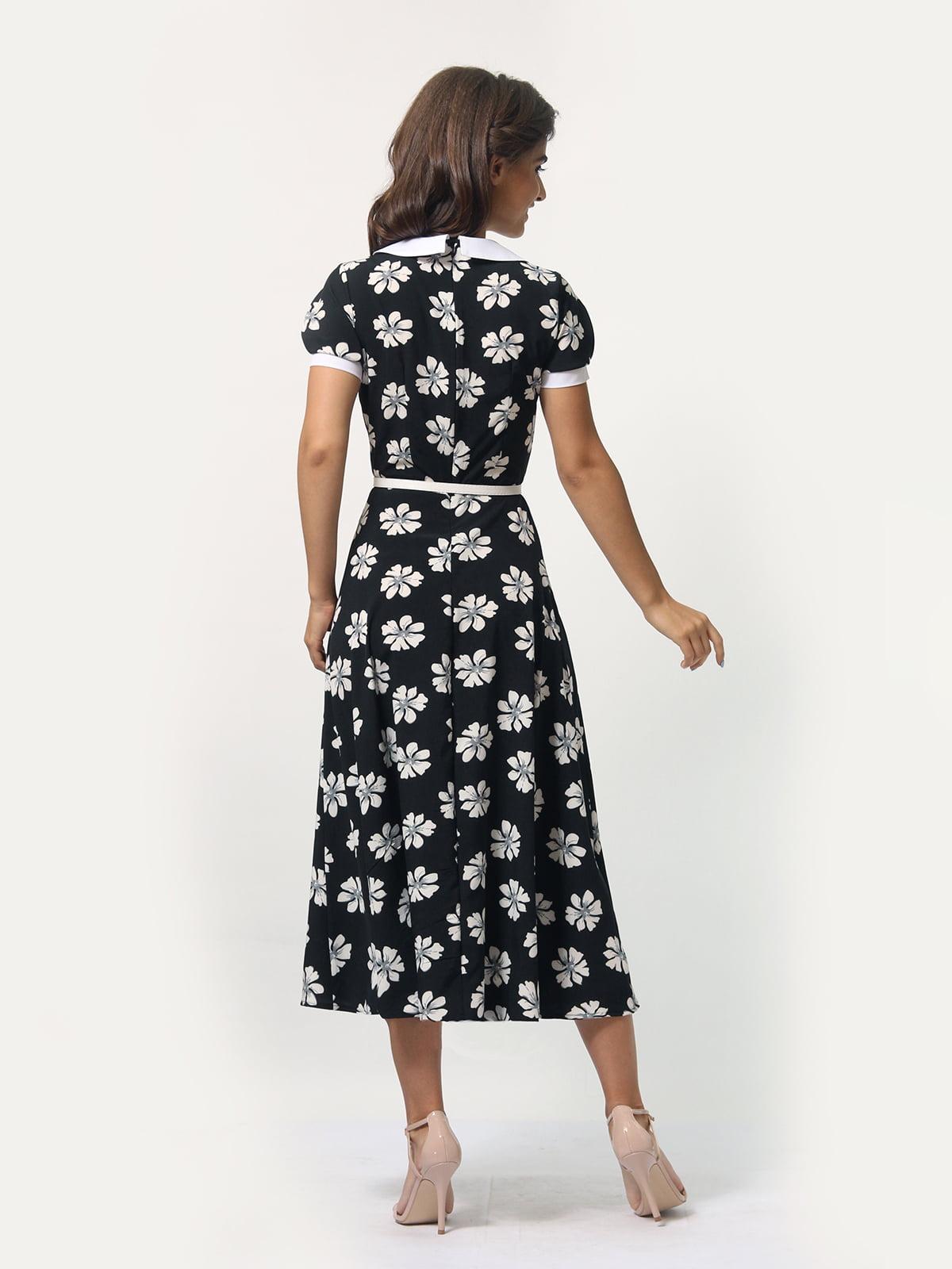Платье черное в цветочный принт | 4388467 | фото 5