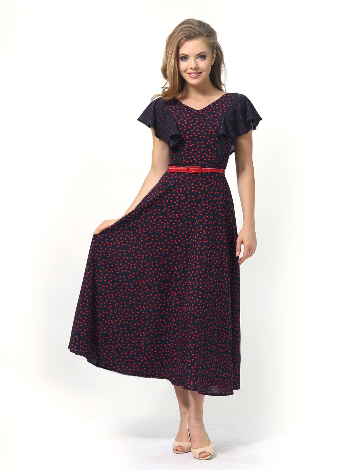 Платье темно-синее в принт | 4389325