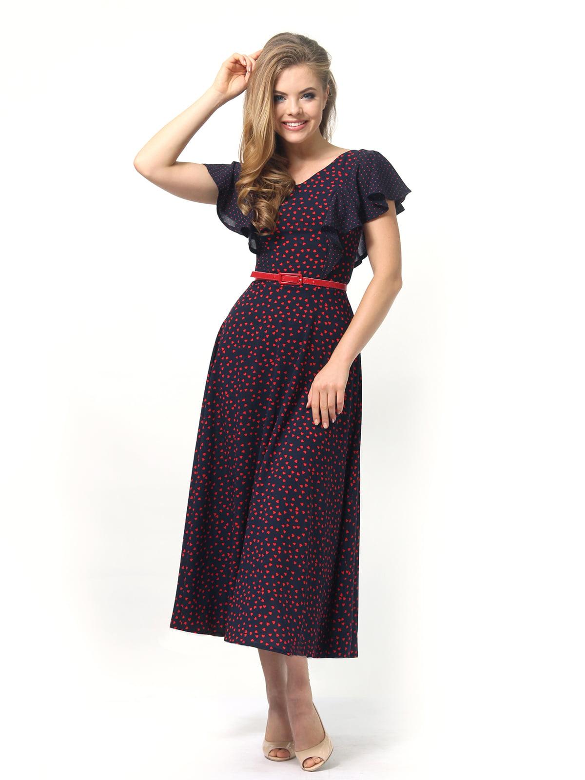 Платье темно-синее в принт | 4389325 | фото 2