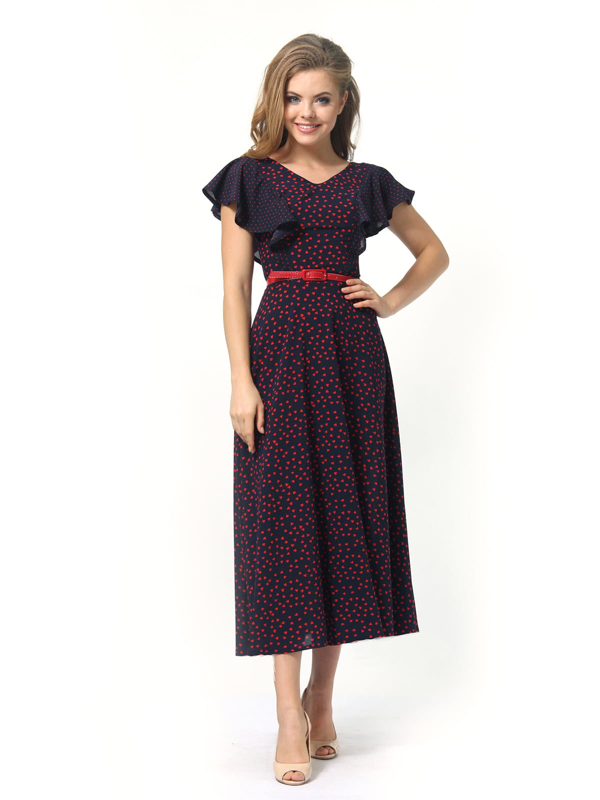 Платье темно-синее в принт | 4389325 | фото 3