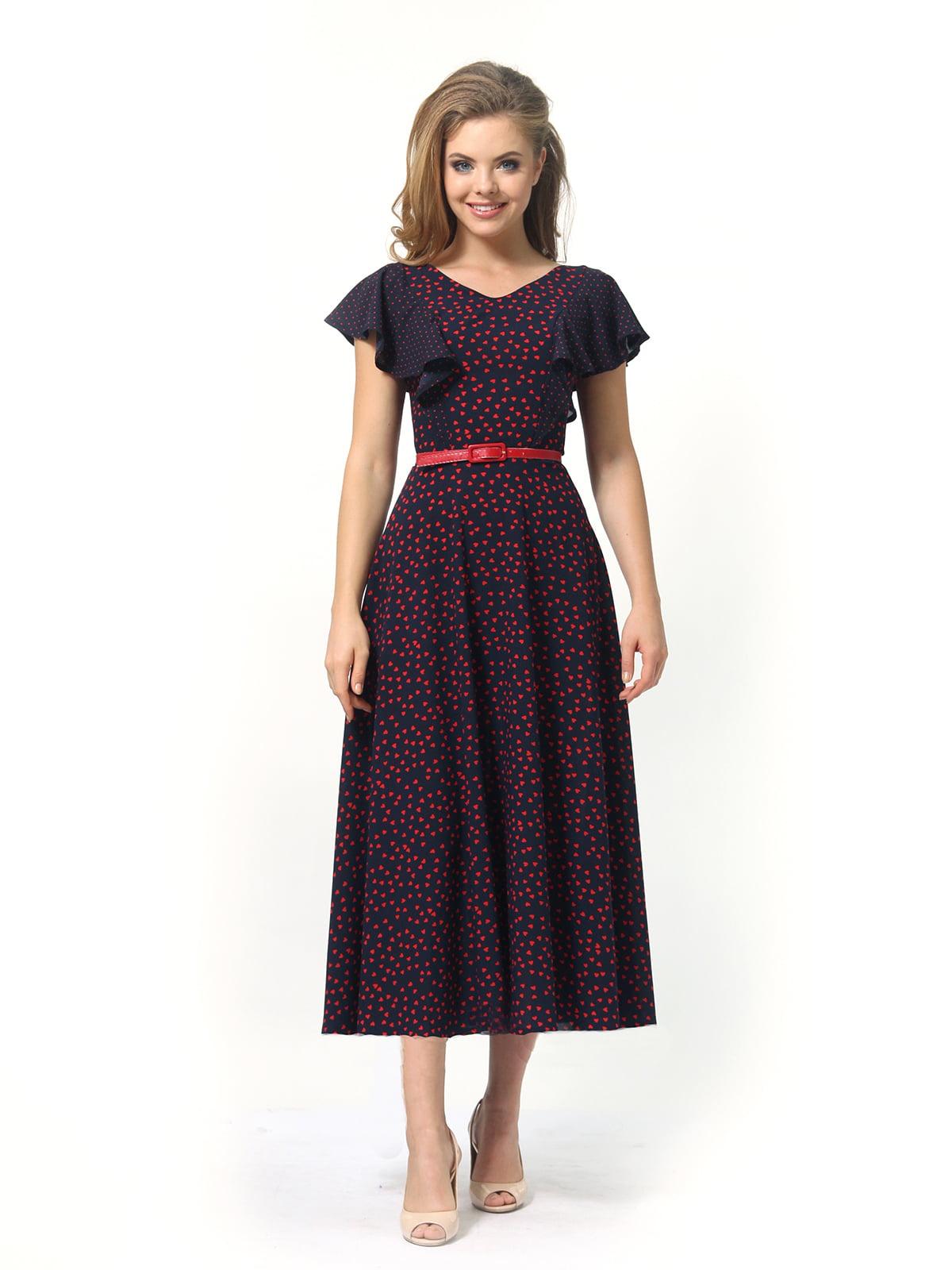 Платье темно-синее в принт | 4389325 | фото 5