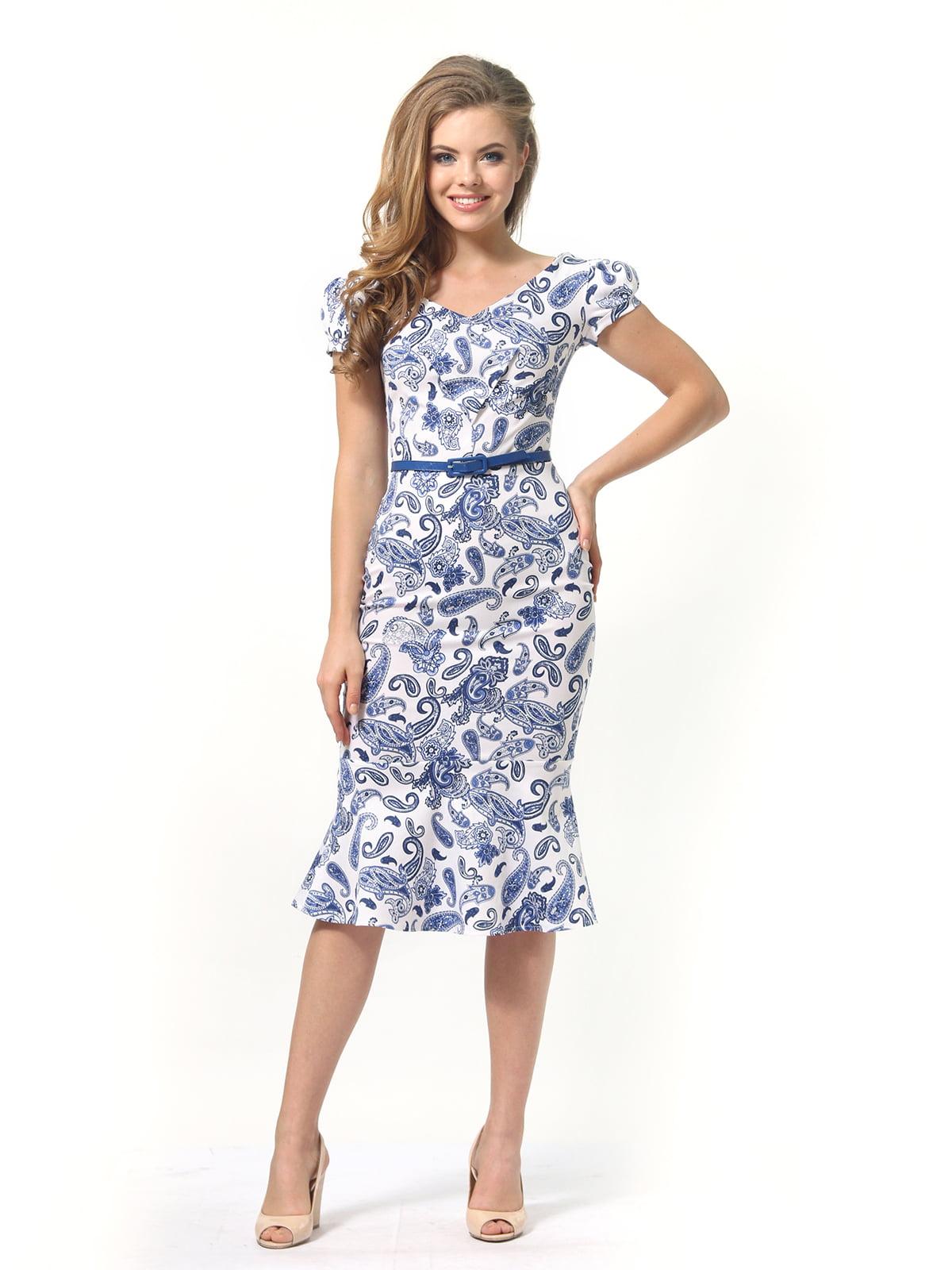Платье белое в принт   4389340