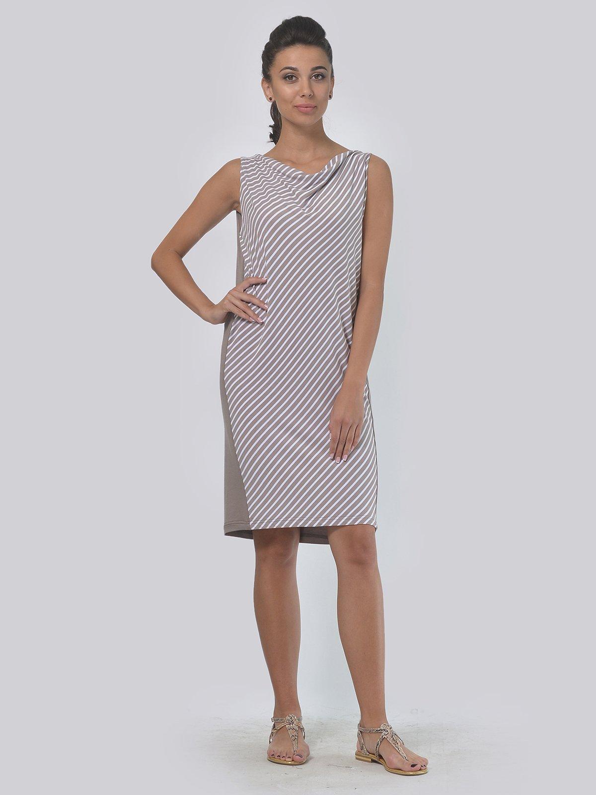Платье кофейного цвета в полоску   4397938