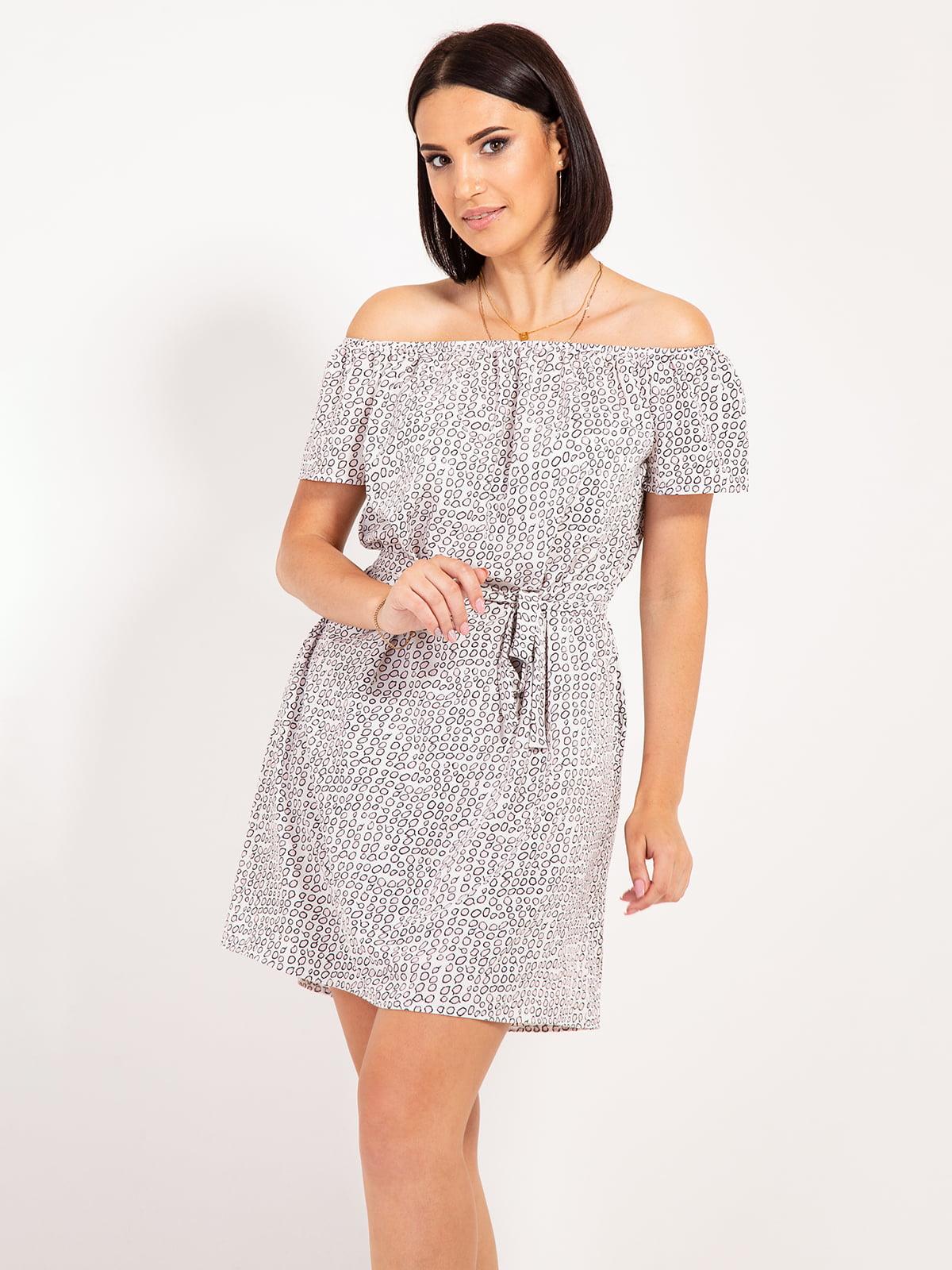 Платье серое в принт | 4400059