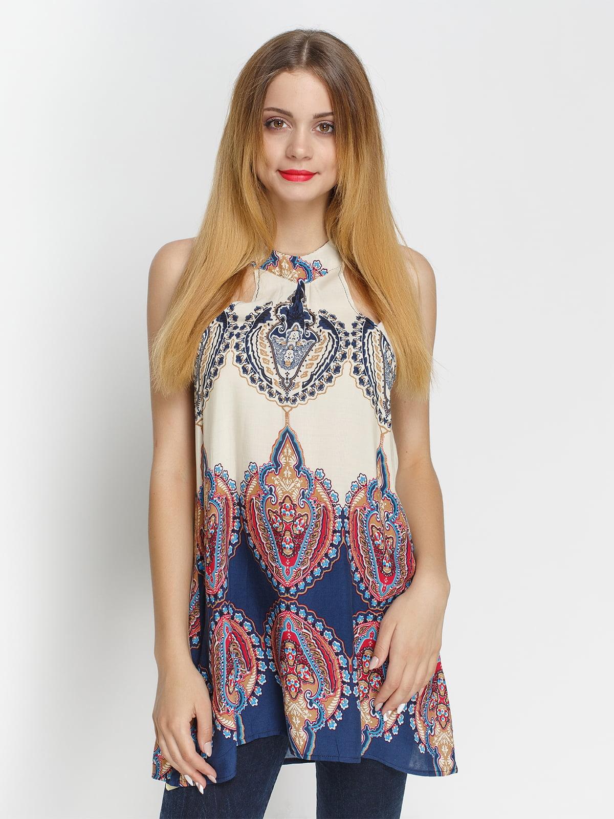 Блуза молочного цвета в принт | 4327082