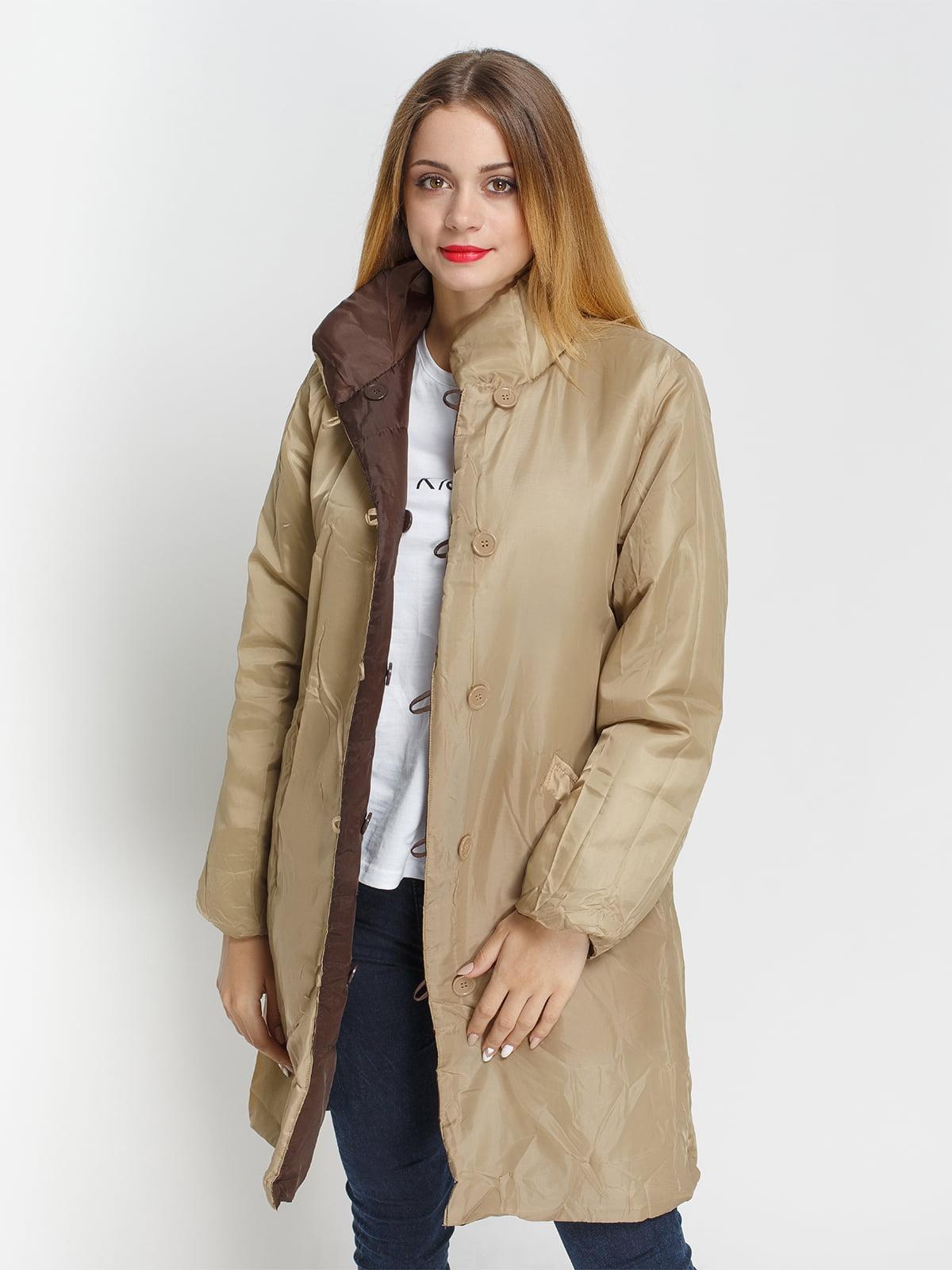 Куртка бежево-коричневая двусторонняя | 4327088