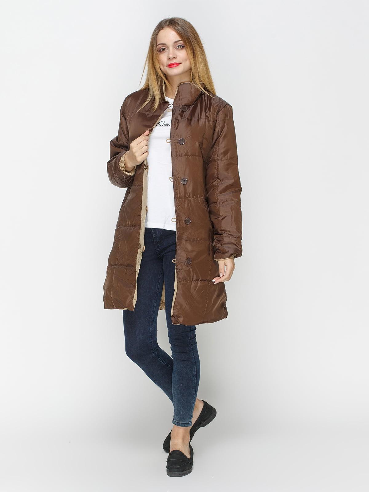 Куртка бежево-коричневая двусторонняя   4327088   фото 2