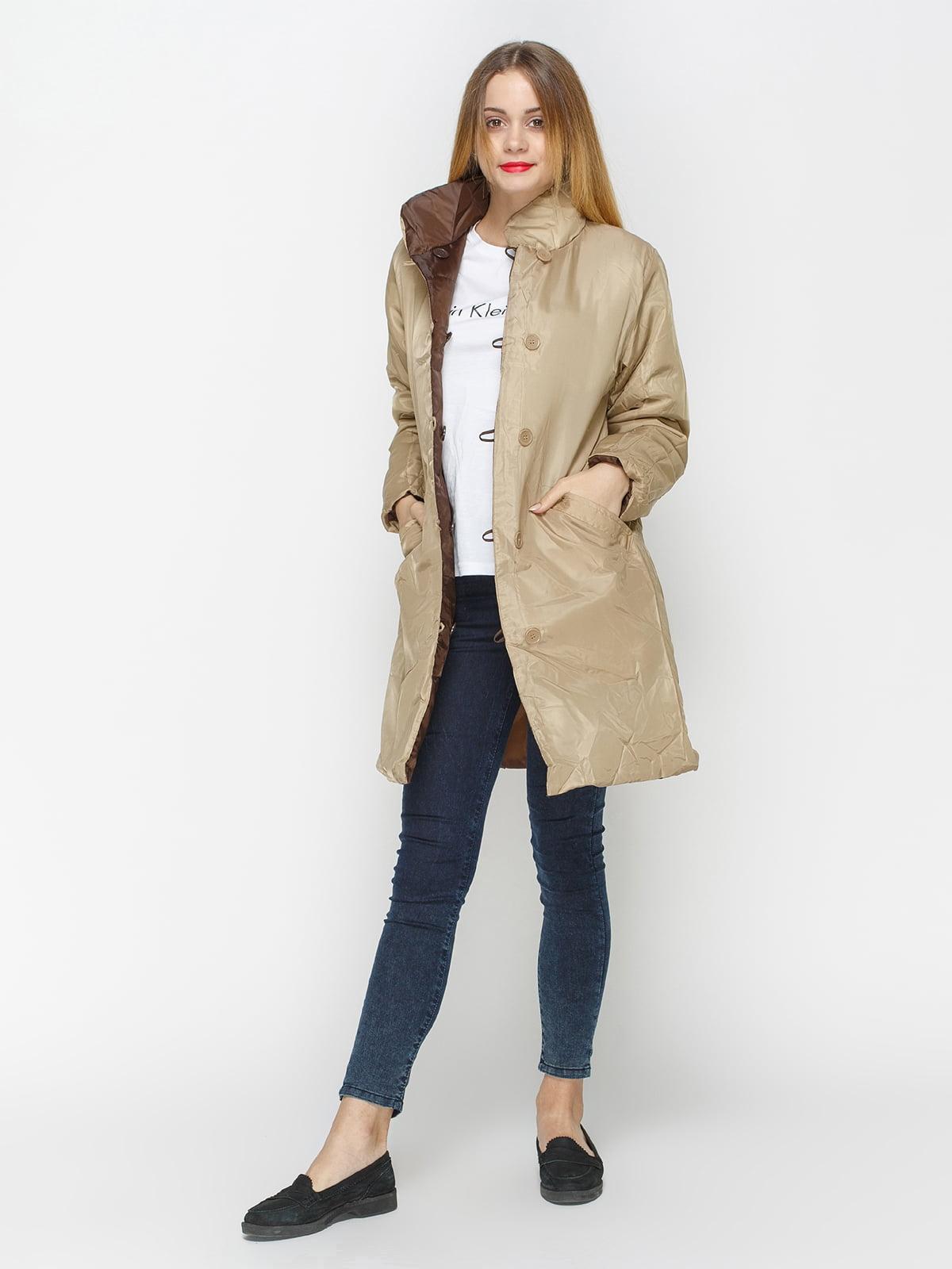 Куртка бежево-коричневая двусторонняя   4327088   фото 4