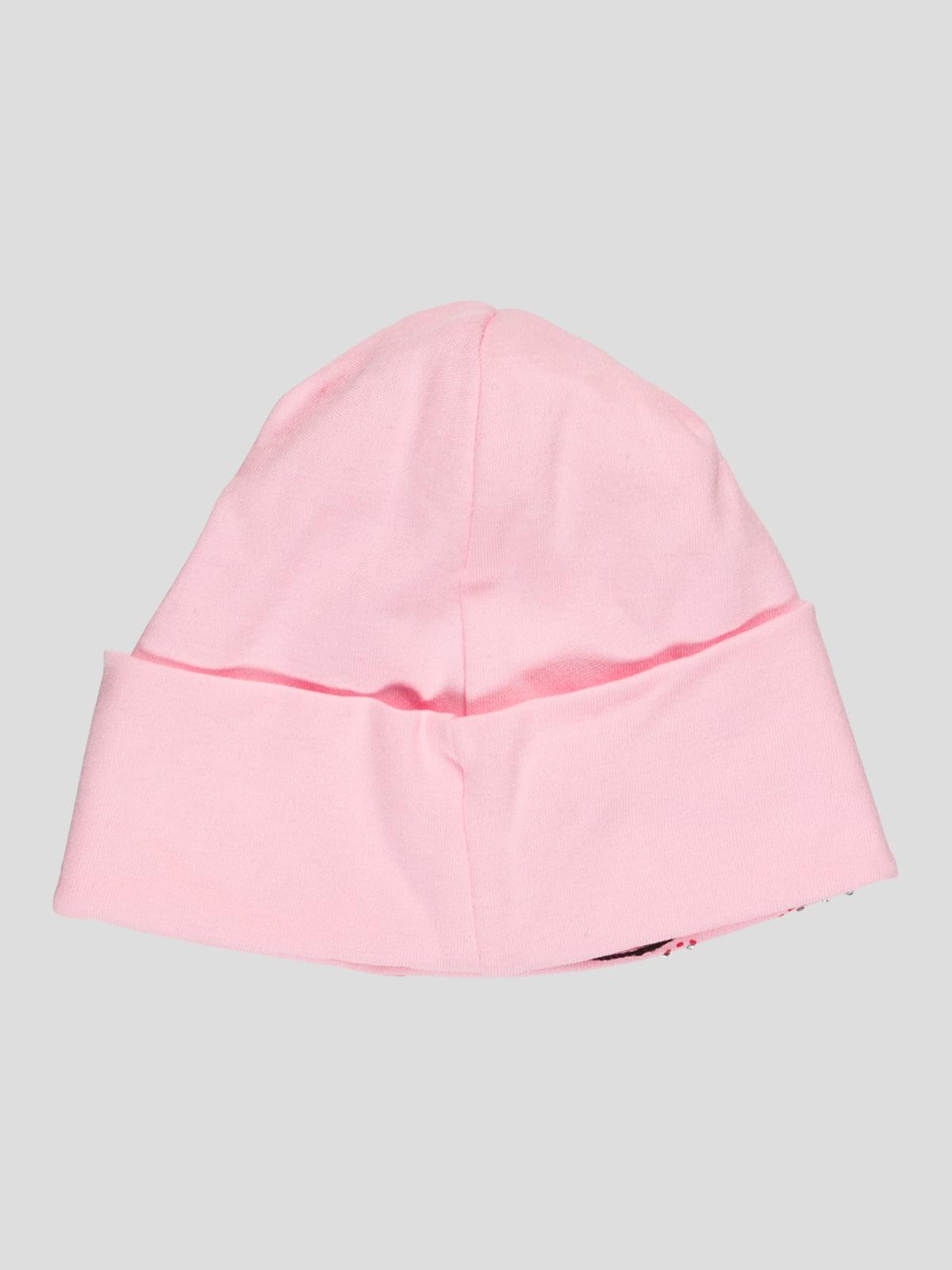 Шапка рожева з принтом і стразами   1726929   фото 2