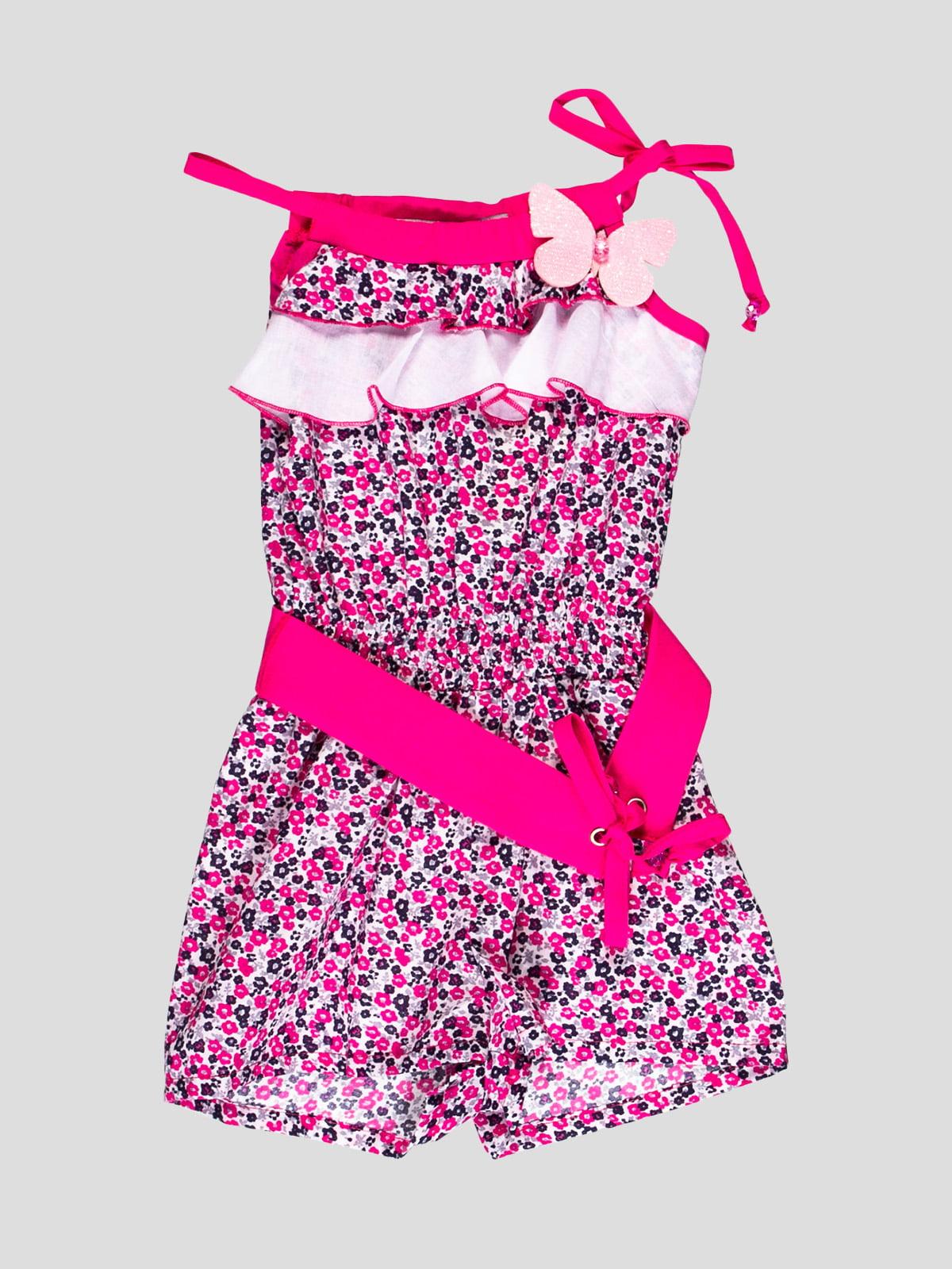 Комбинезон бело-розовая в цветочный принт | 4397810