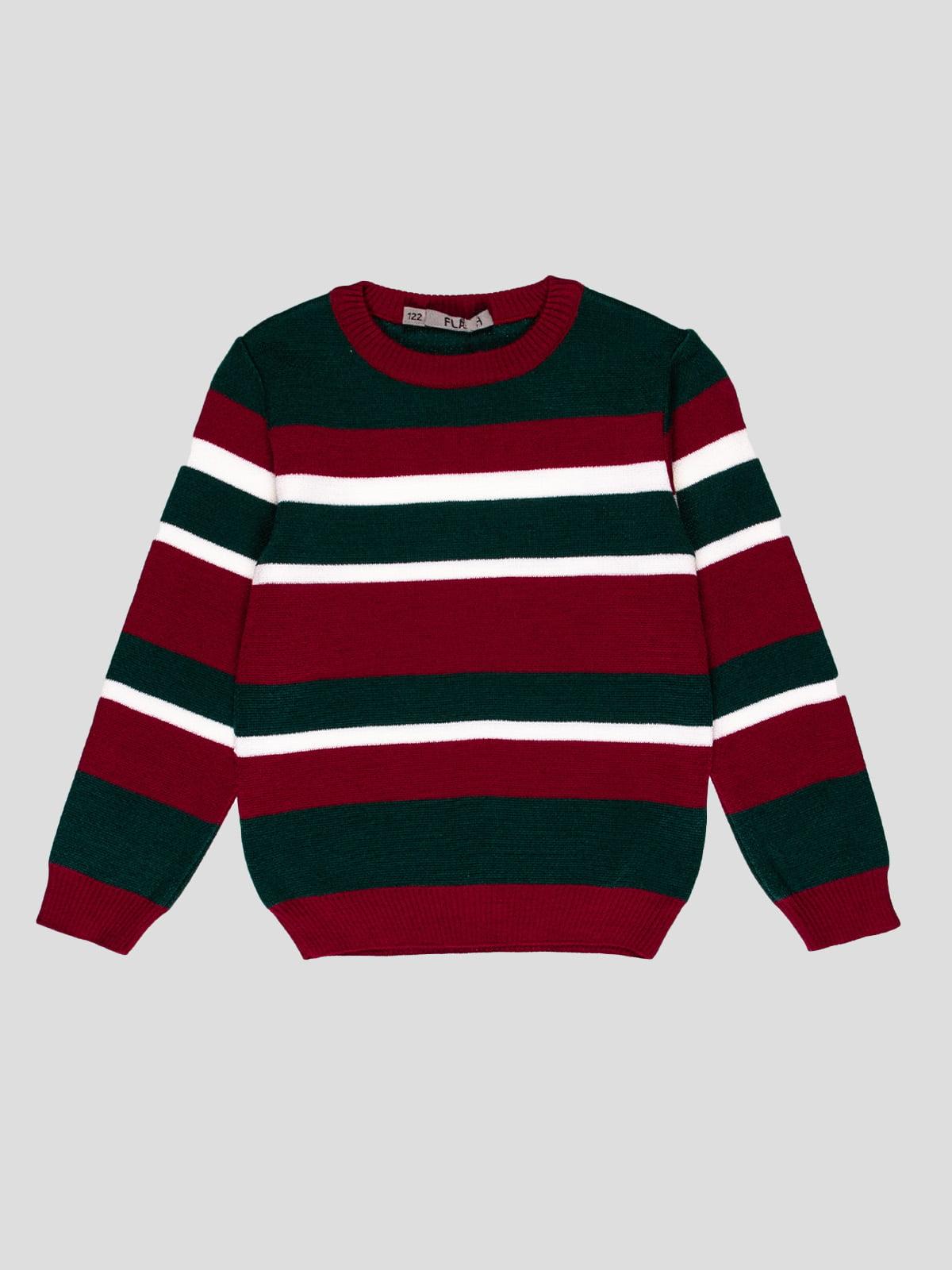 Джемпер бордово-зелений в смужку | 4397413