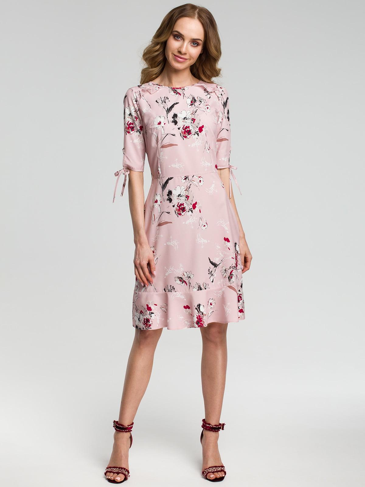 Платье розовое в цветочный принт | 4418078