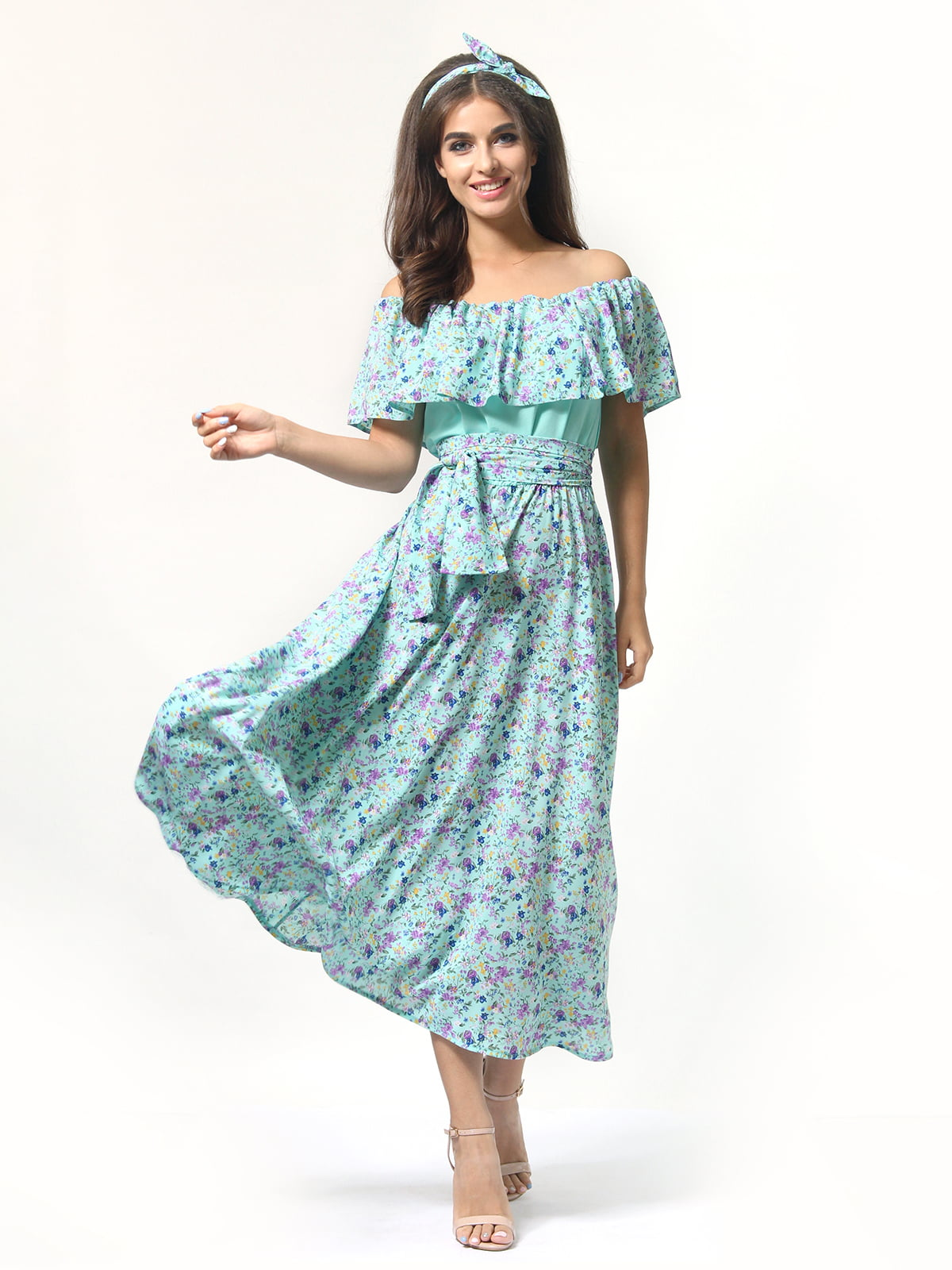 Платье бирюзовое в цветочный принт | 4418804