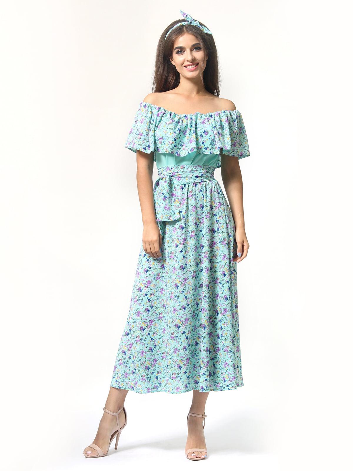 Платье бирюзовое в цветочный принт | 4418804 | фото 2