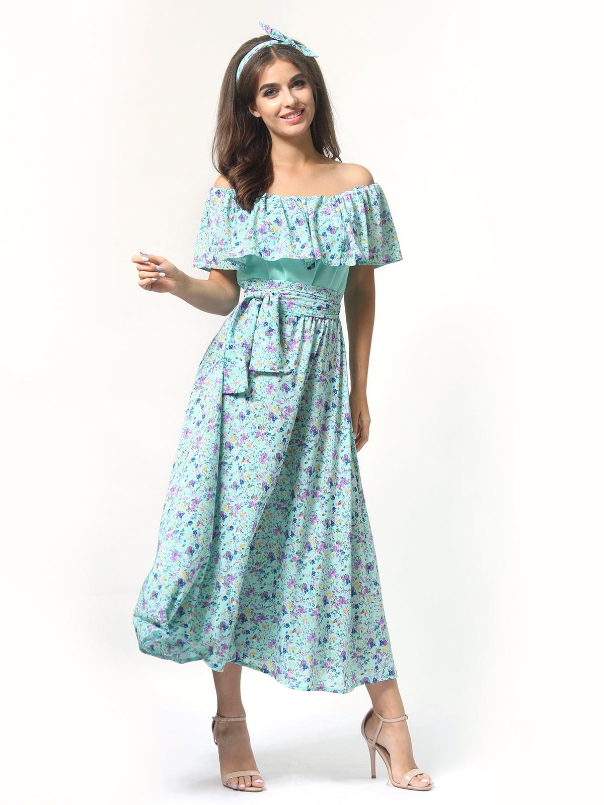 Платье бирюзовое в цветочный принт | 4418804 | фото 3