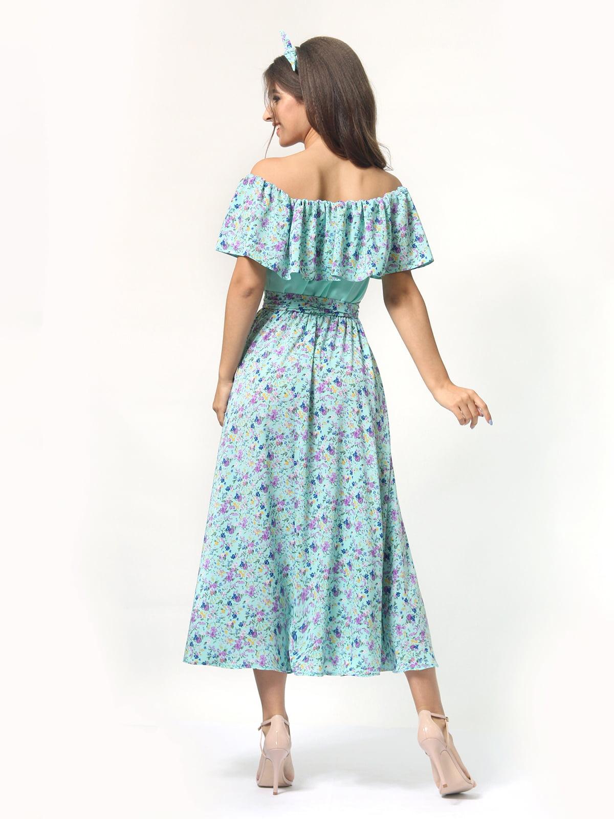 Платье бирюзовое в цветочный принт | 4418804 | фото 4