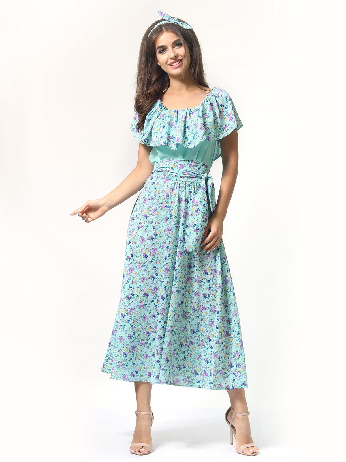 Платье бирюзовое в цветочный принт | 4418804 | фото 5