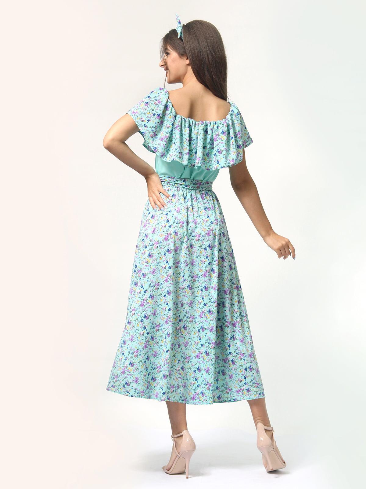 Платье бирюзовое в цветочный принт | 4418804 | фото 6