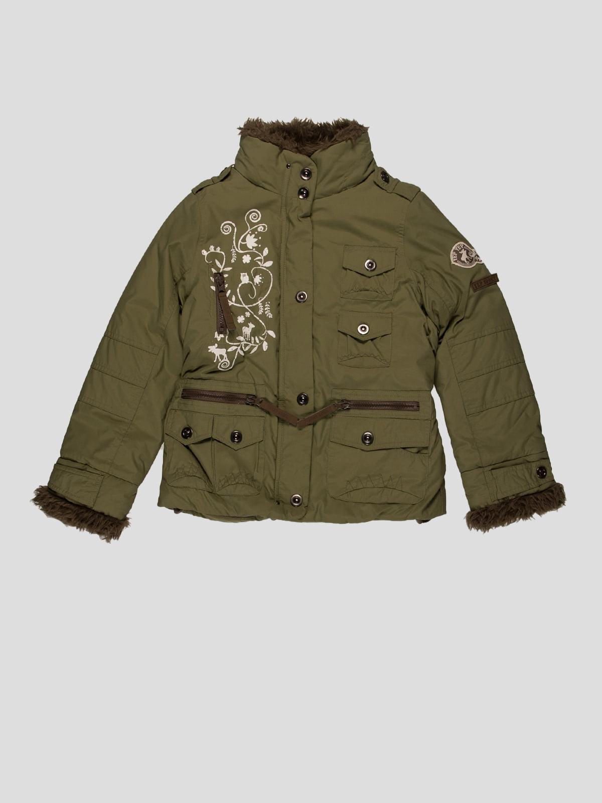Куртка оливкового кольору з вишивкою | 29656
