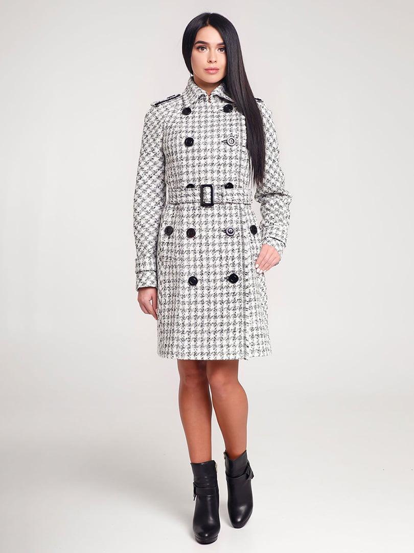Пальто белое в клетку | 4421220