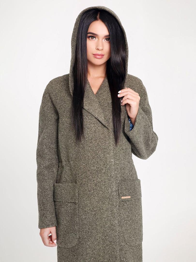 Пальто темно-зеленое | 4421235 | фото 2