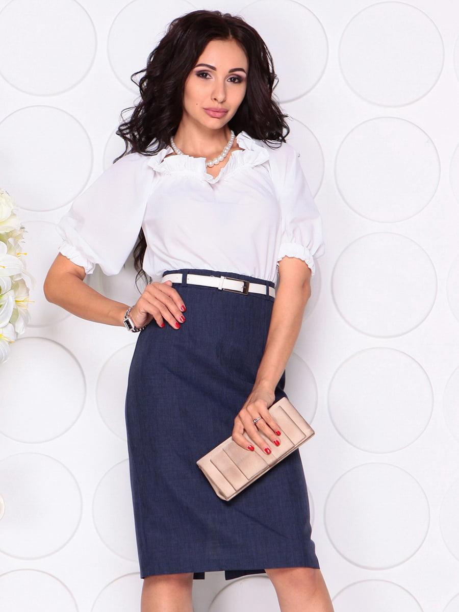 Платье бело-синее | 4414396