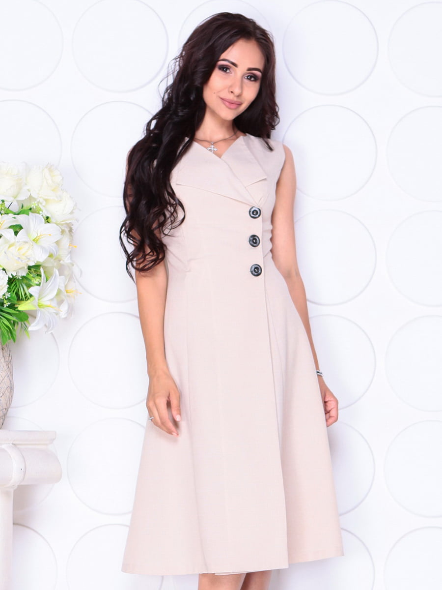 Платье бежевое | 4419770 | фото 5