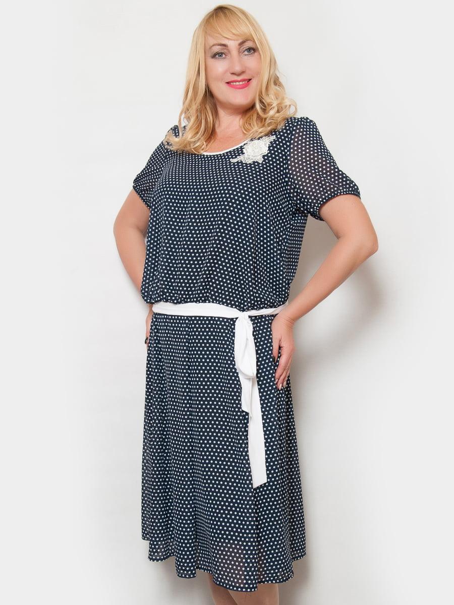 Платье темно-синее в горох | 4424851