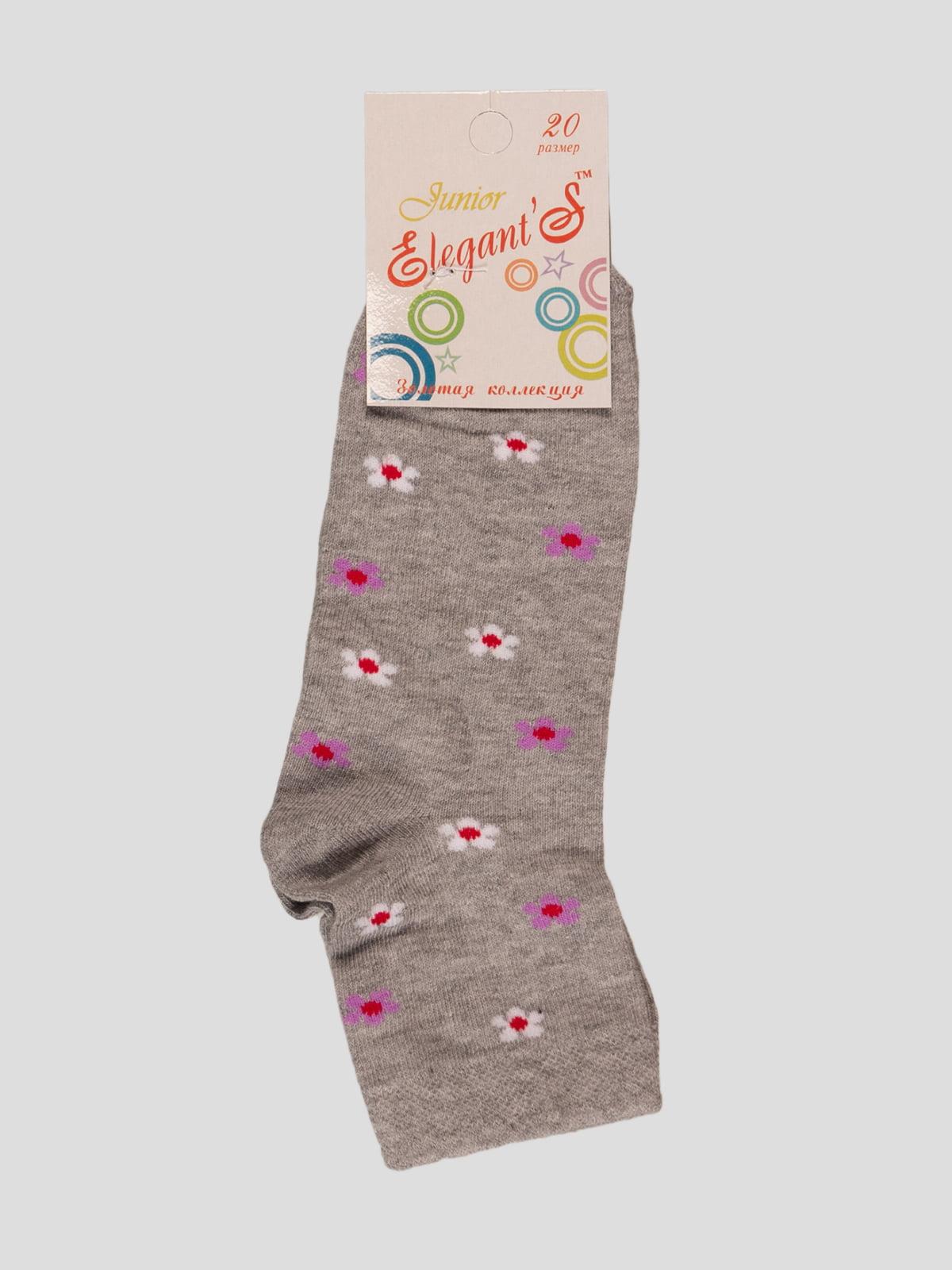 Шкарпетки сірі в квітковий принт | 4412091