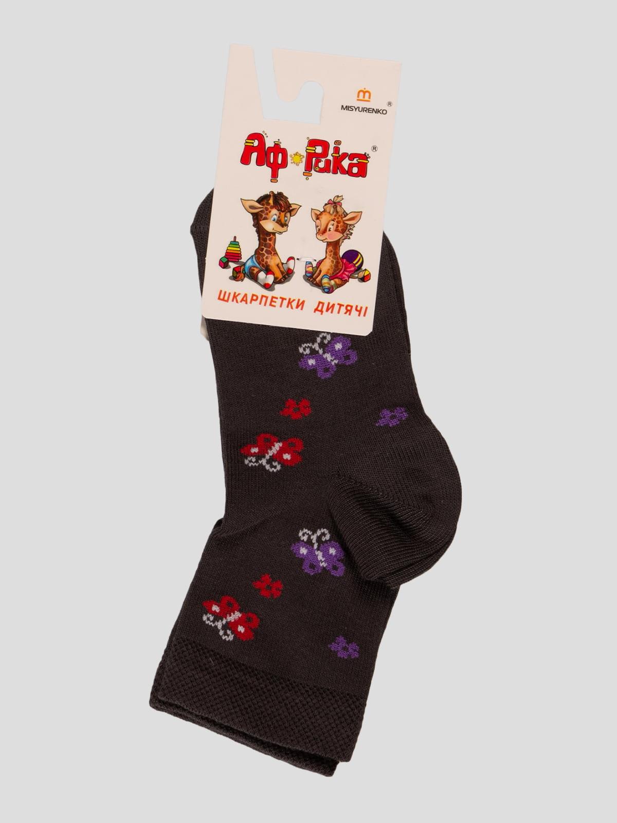 Шкарпетки графітового кольору в принт | 3630647