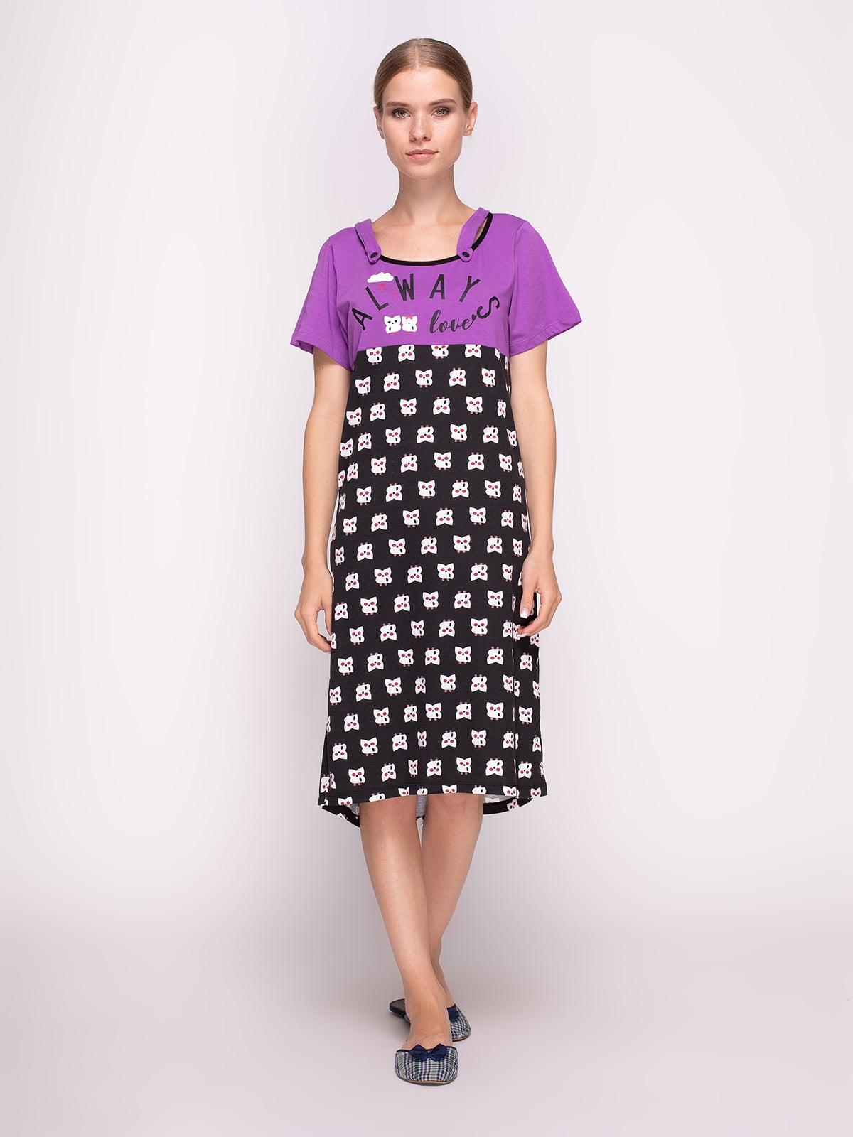 Сорочка нічна комбінованого забарвлення | 4373817