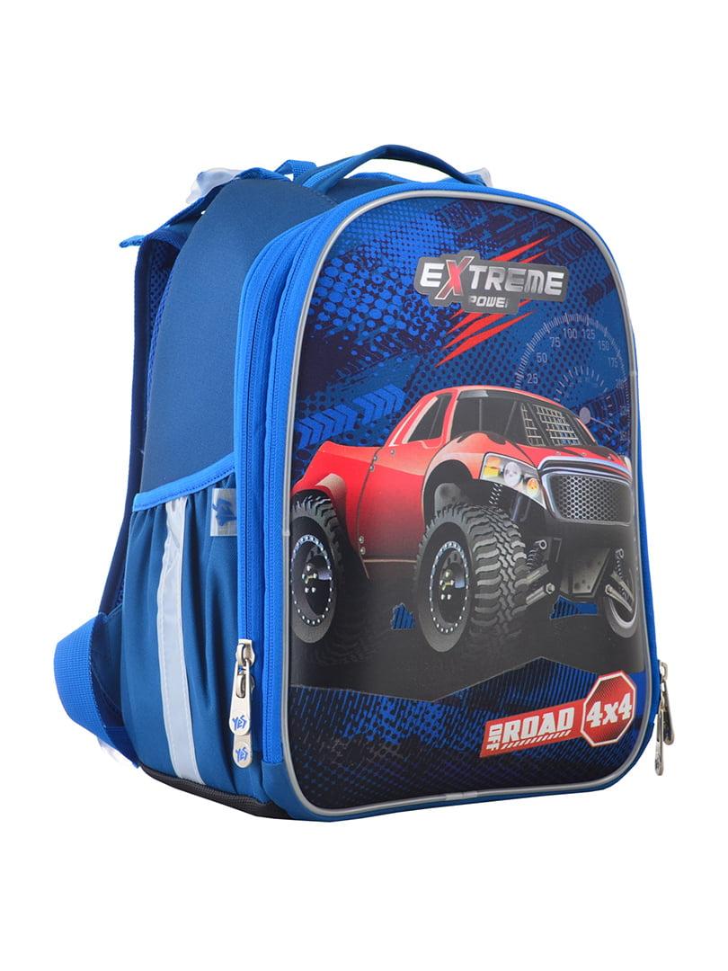 Рюкзак синій з принтом | 4440426