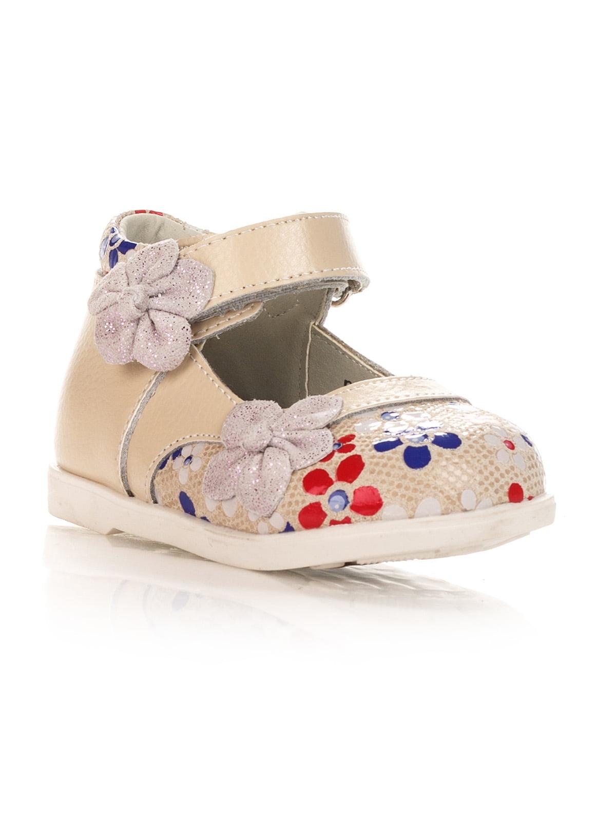 Туфли бежевые с цветочным принтом   4404970