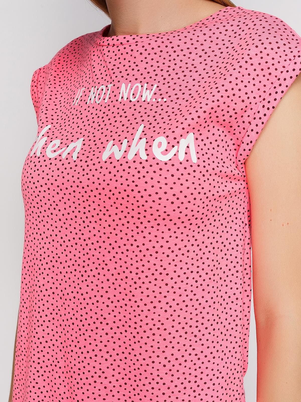 Футболка рожева з принтом | 3966766 | фото 4