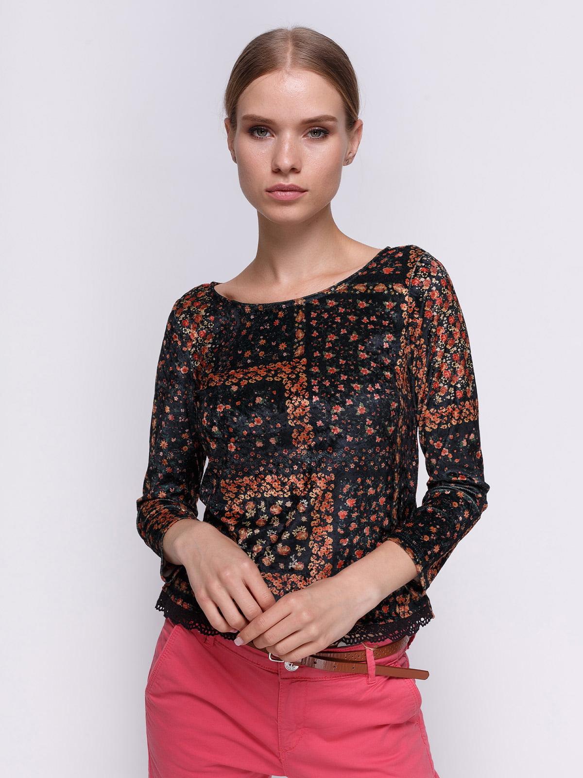 Блуза черная в цветочный принт | 3037795