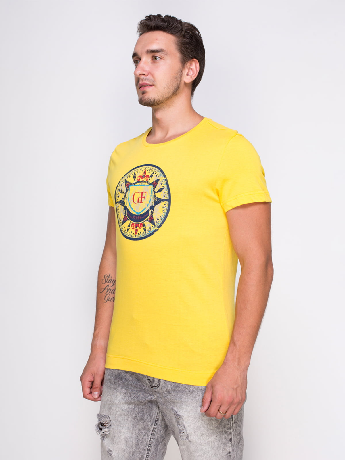 Футболка жовта з принтом | 4462979
