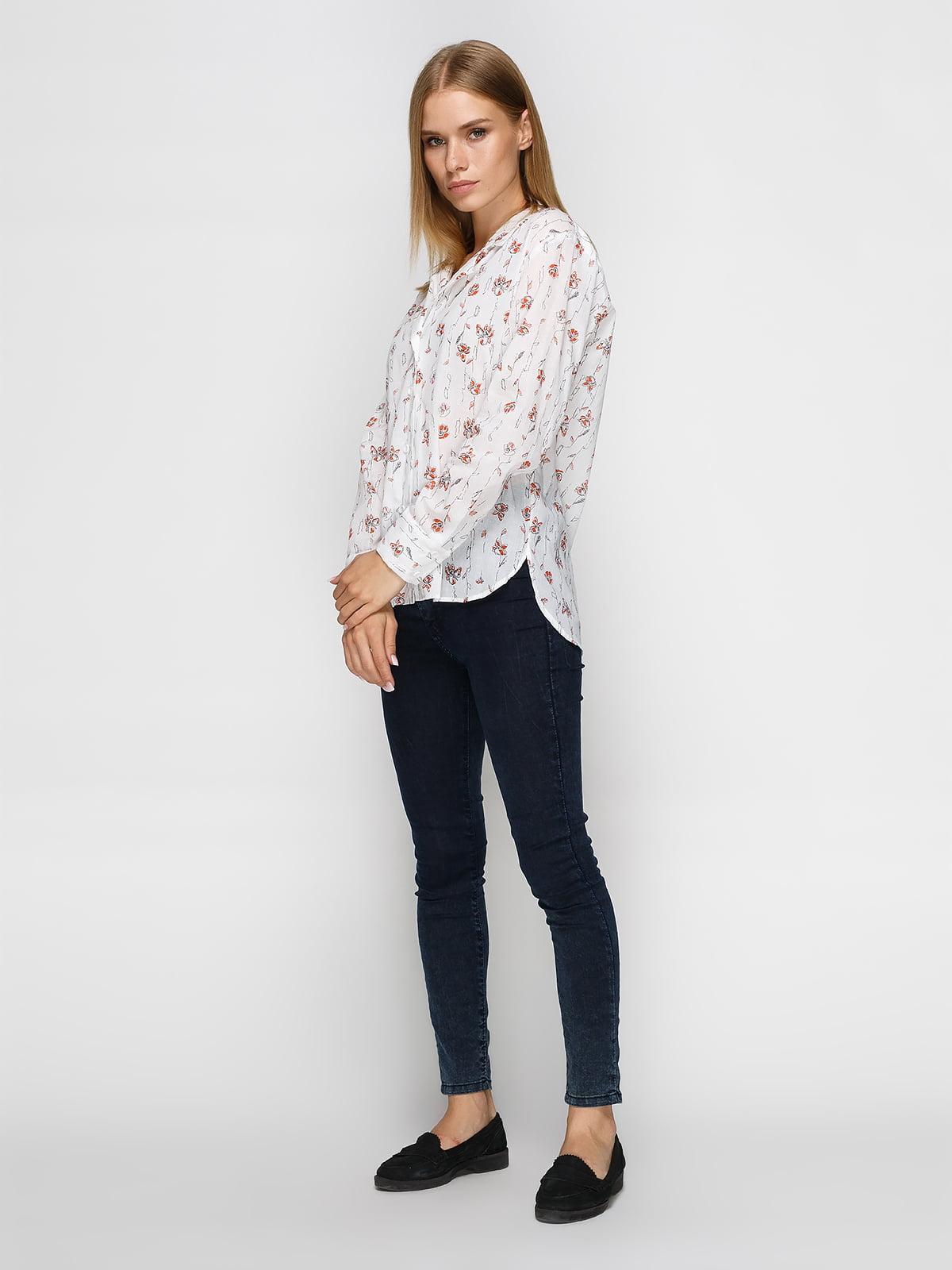Рубашка белая в цветочный принт   4465589