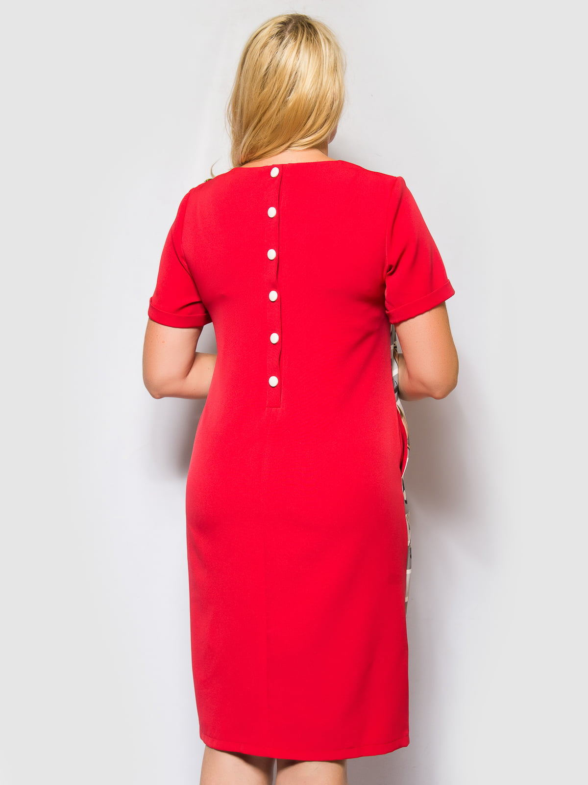Платье красно-серое в полоску и принт | 4469189 | фото 2