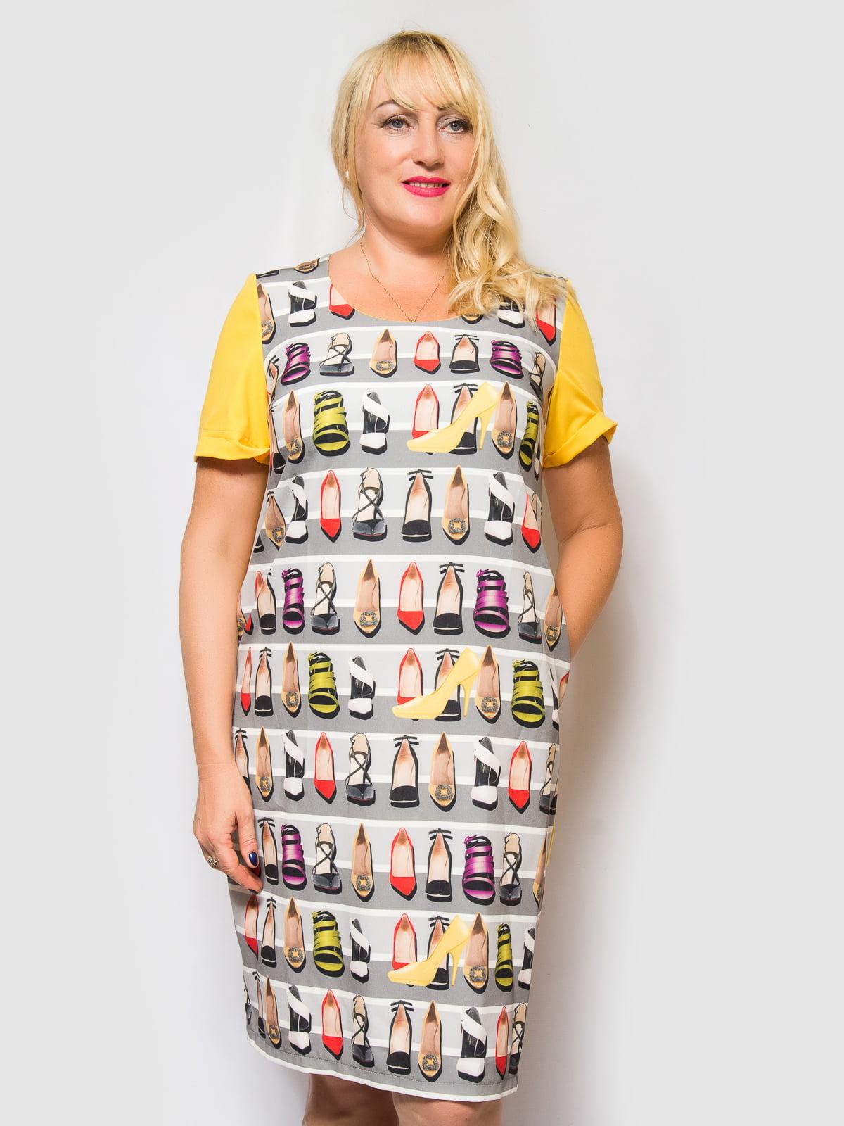 Сукня жовто-сіра в смужку і принт | 4469190