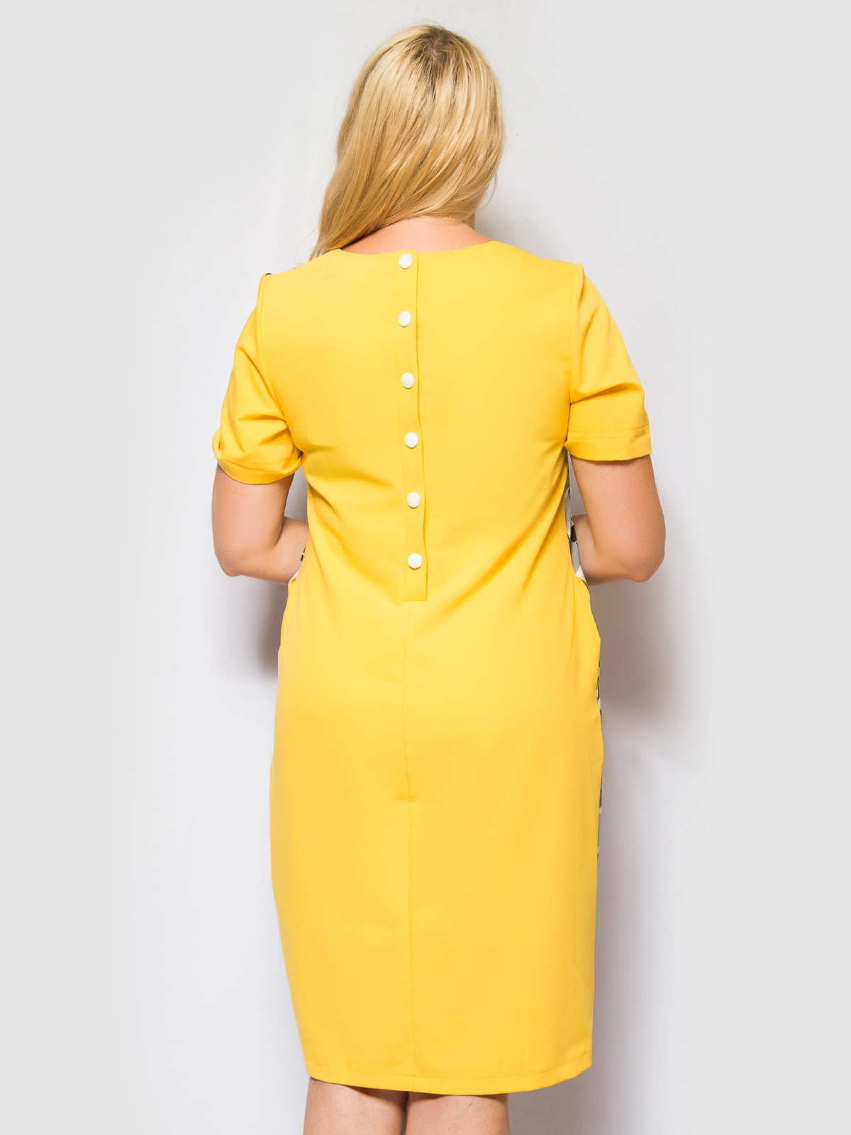 Сукня жовто-сіра в смужку і принт | 4469190 | фото 2