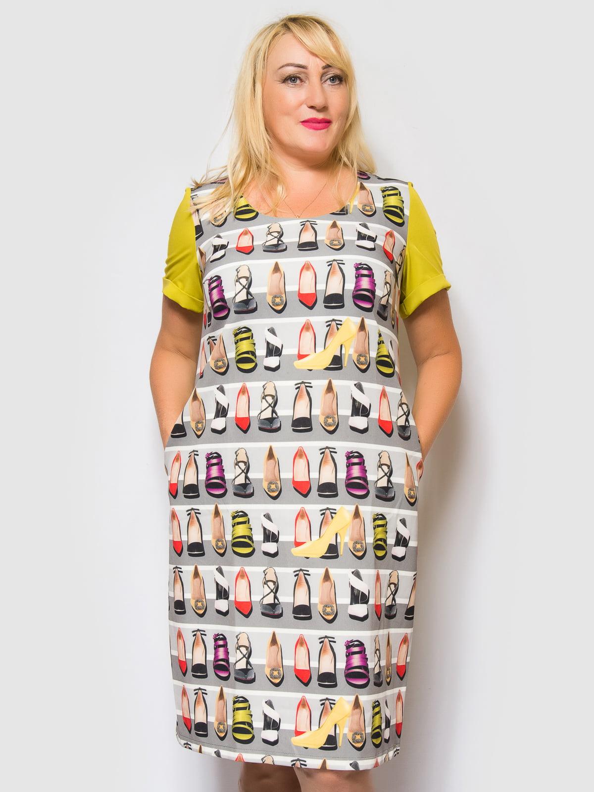 Платье оливково-серое в полоску и принт | 4469192