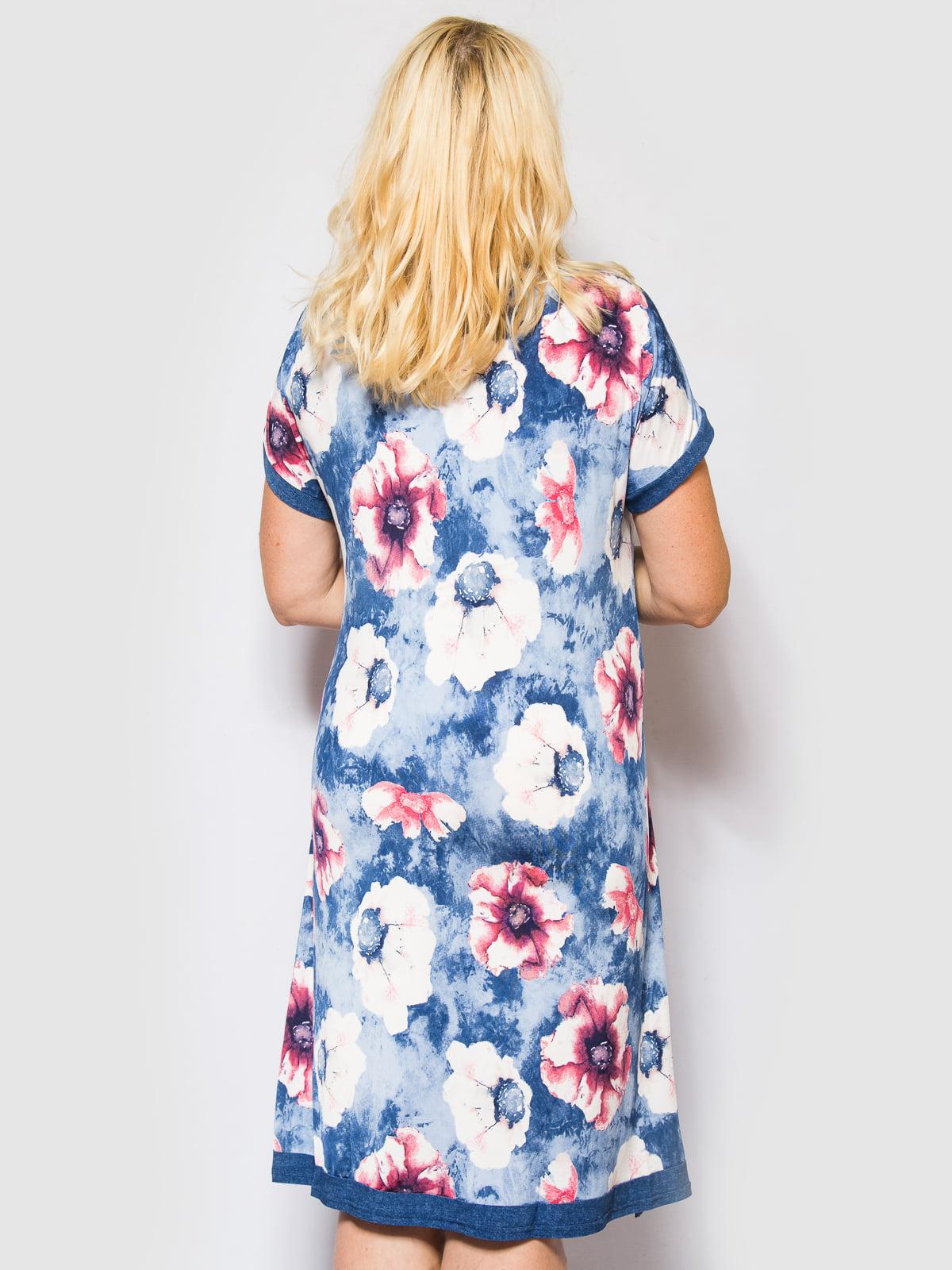 Сукня синя з квітковим принтом   4469254   фото 3