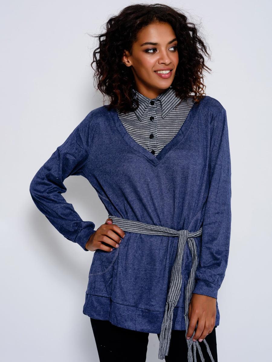 Джемпер синій зі стилізованою блузою в клітинку | 4479617