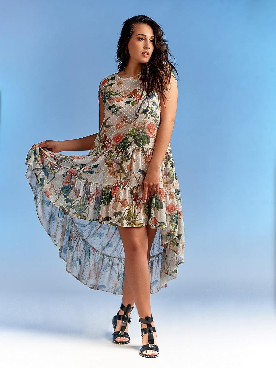 Платье в горох и цветочный принт | 4486866