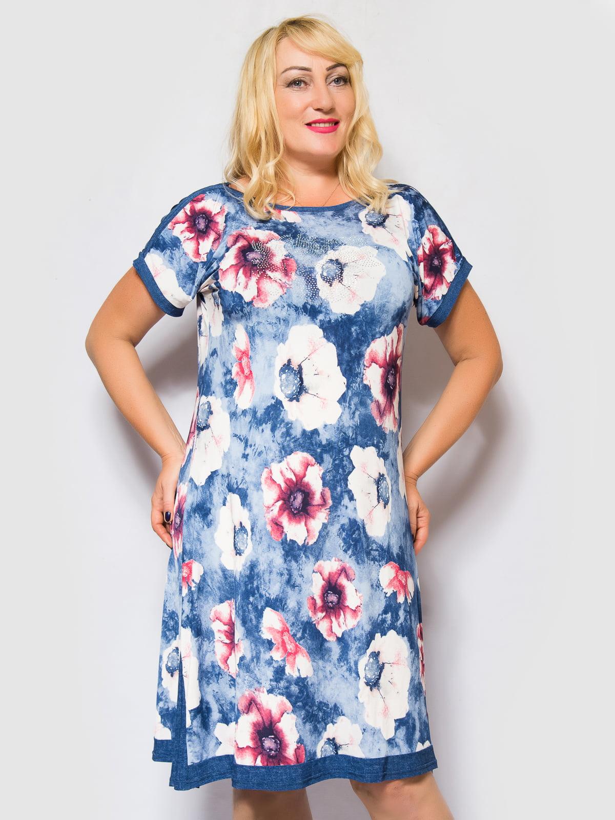 Сукня синя з квітковим принтом   4469254   фото 4