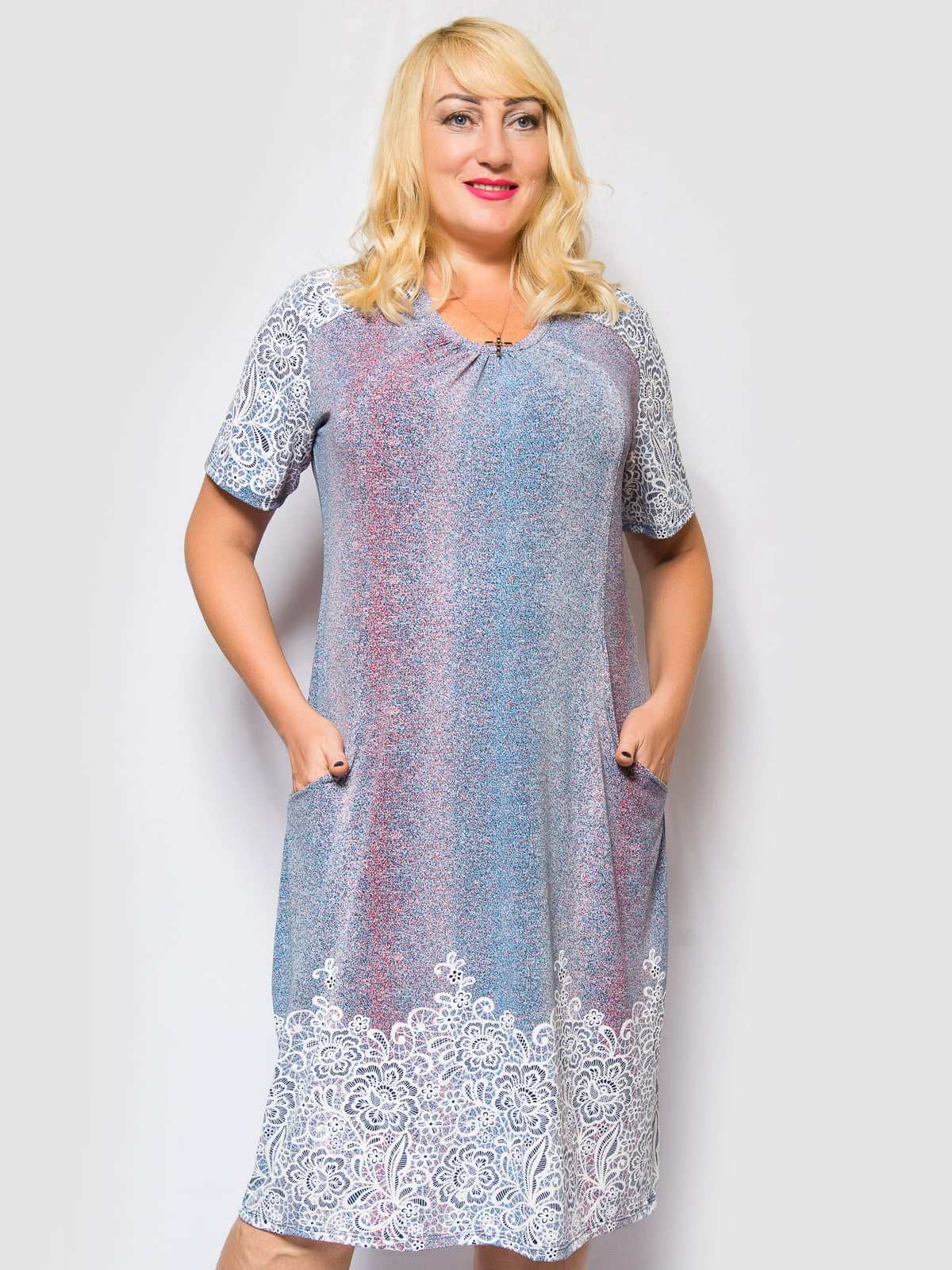 Сукня блакитна з квітковим принтом | 4486858