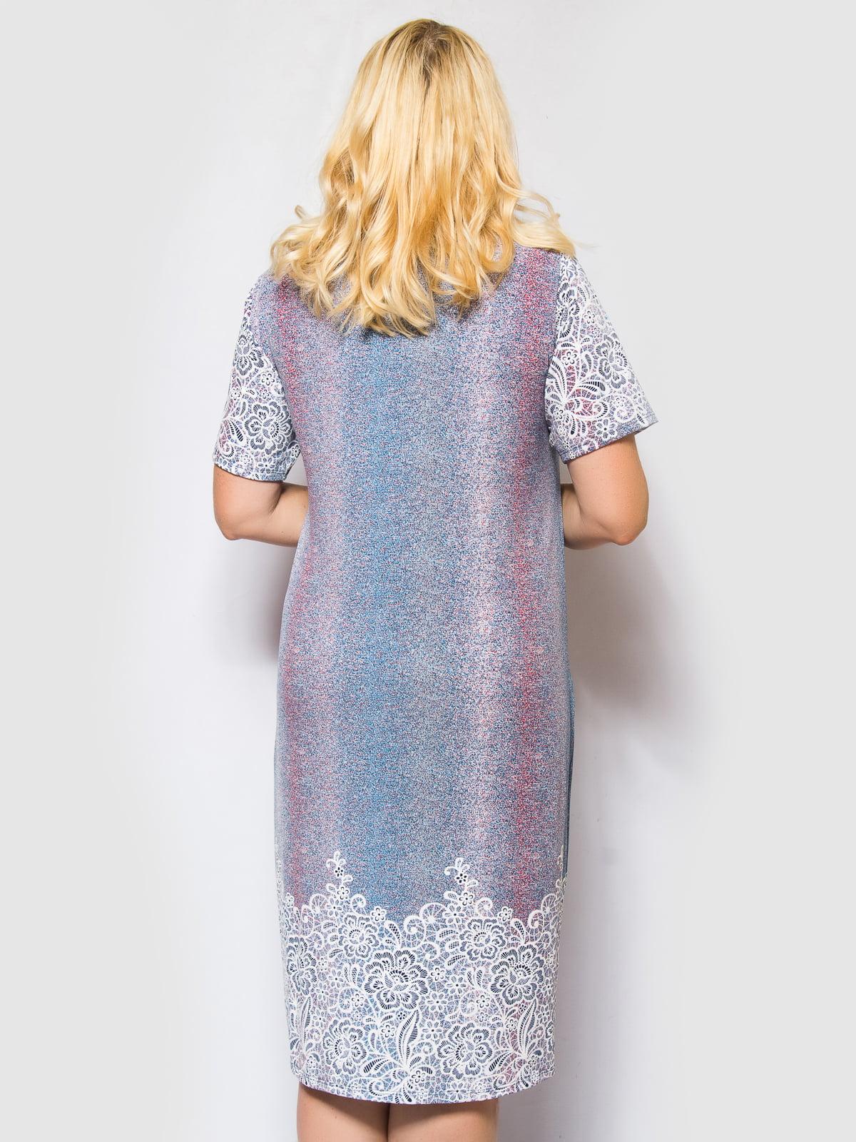 Сукня блакитна з квітковим принтом | 4486858 | фото 2