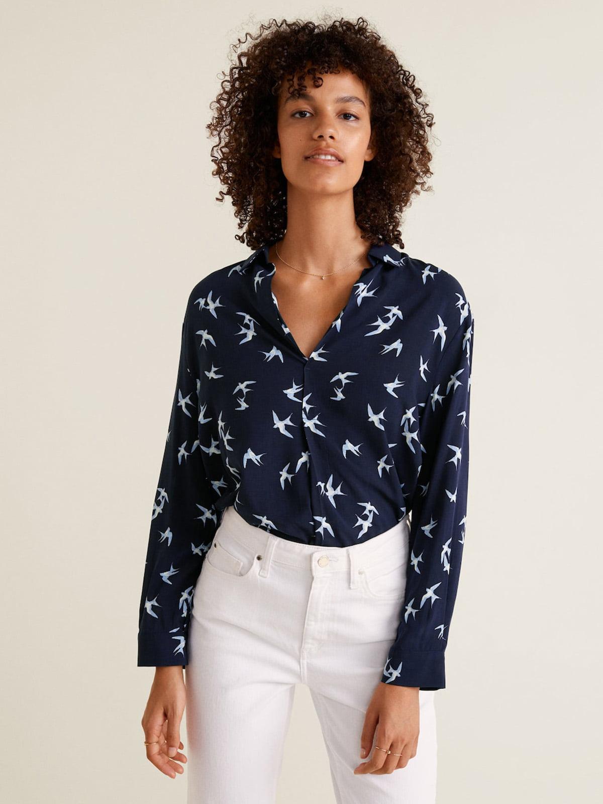 Блуза синяя в принт | 4489373