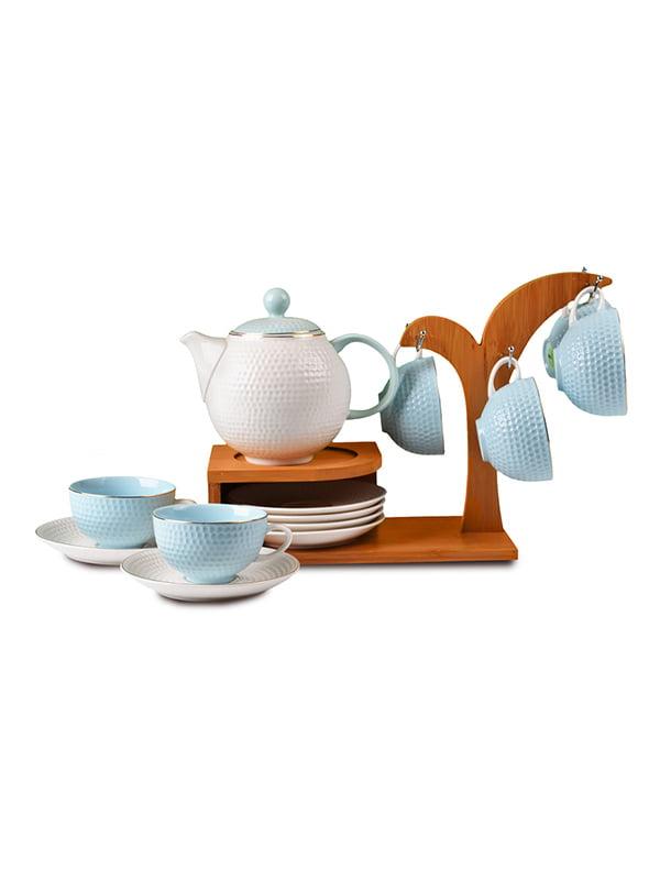 Набір чайний (13 предметів) на бамбуковій підставці | 4493192