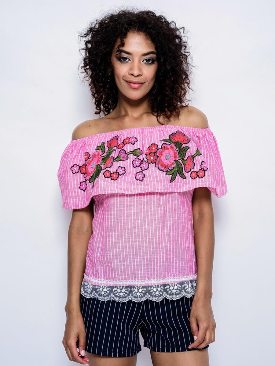 Блуза сиреневая с вышивкой | 4214492